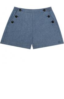 Хлопковые мини-шорты с контрастными пуговицами и эластичной вставкой на поясе Burberry
