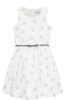 Приталенное платье-миди с принтом и поясом Monnalisa