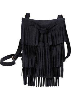 Замшевая сумка с бахромой (черный) Bonprix