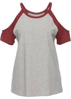 Двухцветная футболка с вырезами (светло-серый меланж/красный каштан) Bonprix