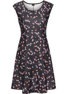 Трикотажное платье с цветочным принтом (черный с рисунком) Bonprix