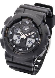 Мужские часы в спортивном стиле (черный) Bonprix