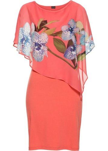 Платье с шифоновой накидкой (ярко-розовый/коралловый с рисунком с орхидеями)