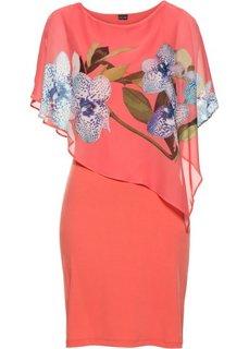 Платье с шифоновой накидкой (ярко-розовый/коралловый с рисунком с орхидеями) Bonprix