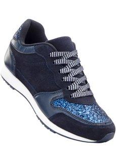 Кожаные кроссовки (темно-синий/темно-синий матовый металлик) Bonprix