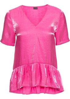 Блузка с воланами (ярко-розовый) Bonprix