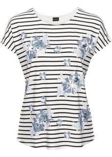 Полосатая футболка с пайетками (кремовый/темно-синий в полоску) Bonprix