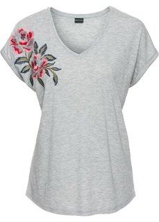 Непринужденная футболка с аппликацией (серый меланж с цветочной вышивкой) Bonprix