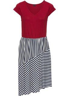 Трикотажное платье с полосками (темно-синий/красный/белый в полоску) Bonprix