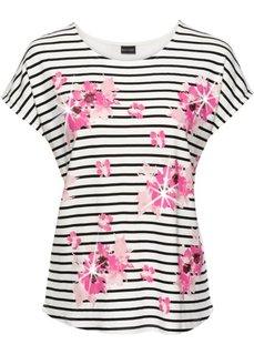 Полосатая футболка с пайетками (кремовый/черный в полоску) Bonprix