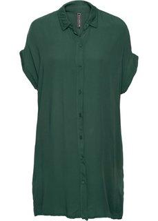 Платье рубашечного покроя (темно-зеленый) Bonprix