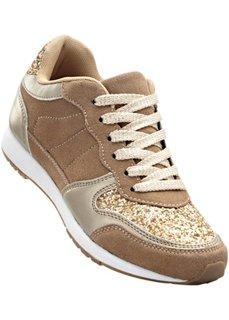 Кожаные кроссовки (бежевый/золотистый матовый металлик) Bonprix