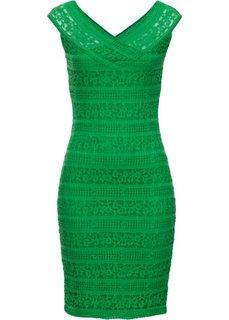 Кружевное платье (зеленый) Bonprix