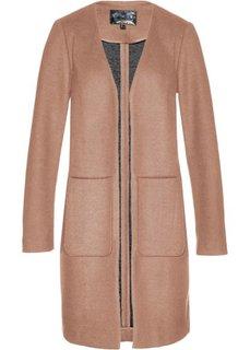 Пальто с долей шерсти (верблюжий/черный) Bonprix