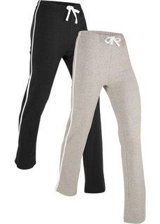 Спортивные брюки (2 шт.) (черный/серый меланж) Bonprix