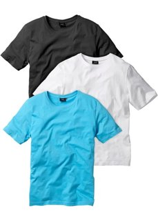 Классическая футболка (белый + бирюзовый + черный) Bonprix