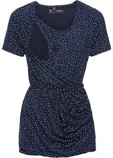 Для будущих мам: футболка с коротким рукавом и функцией кормления (темно-синий/цвет белой шерсти в горошек) Bonprix