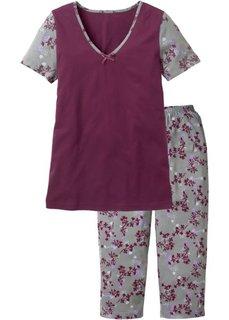 Пижама с брюками 3/4 (красная ягода/серый в цветочек) Bonprix