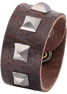 Мужской кожаный браслет с заклепками (темно-коричневый) Bonprix