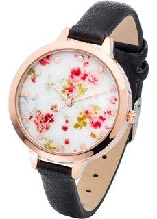 Наручные часы с цветочным мотивом (черный) Bonprix