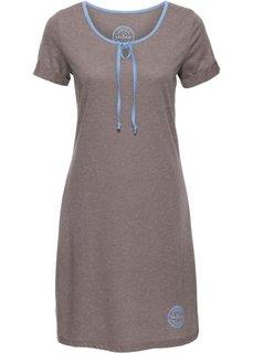 Трикотажное платье с коротким рукавом (коричневый меланж) Bonprix