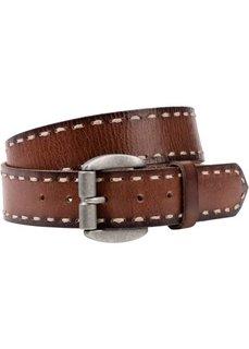 Кожаный ремень с рельефными швами (коричневый) Bonprix