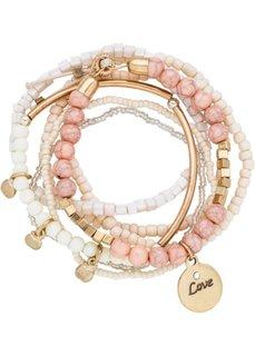 Набор браслетов (экрю/розовый/золотистый) Bonprix