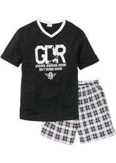 Пижама с  шортами (черный/белый) Bonprix