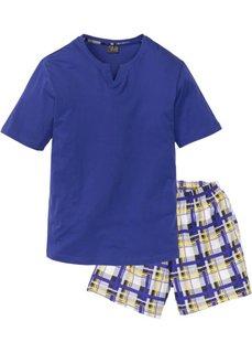 Короткая мужская пижама (сапфирно-синий в клетку) Bonprix