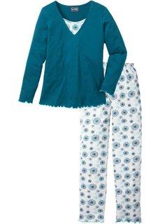 Пижама с длинными брюками (сине-зеленый с рисунком) Bonprix