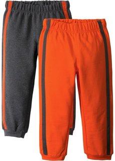 Трикотажные брюки (2 шт.) (антрацитовый меланж/темно-оранжевый) Bonprix