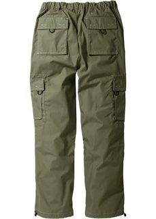 Прямые брюки карго свободного кроя loose fit, низкий + высокий рост (U + S) (оливковый) Bonprix