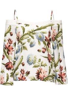 Блузка-кармен с кружевом (кремовый в цветочек) Bonprix