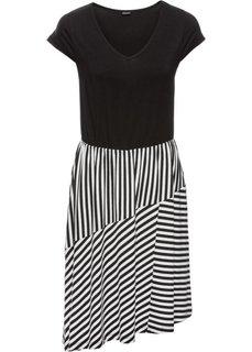 Трикотажное платье с полосками (черный/белый в полоску) Bonprix