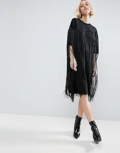 Платье миди с бахромой ASOS WHITE - Черный