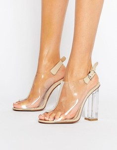 Прозрачные сандалии на каблуке с ремешком на щиколотке Public Desire - Бежевый