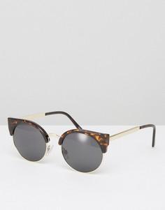 Черепаховые солнцезащитные очки кошачий глаз Monki - Коричневый