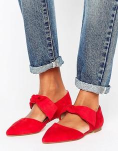 Туфли на плоской подошве с острым носком и бантиками Lost Ink - Красный