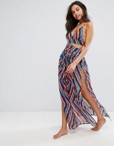 Пляжное платье макси с вырезом Boohoo - Мульти