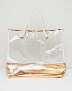 Прозрачная пляжная сумка цвета розового золота South Beach - Золотой