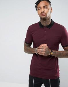 Обтягивающая футболка-поло в рубчик ASOS - Красный