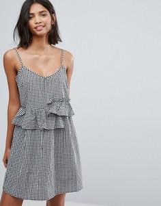 Платье мини в клетку с оборками Lost Ink - Черный