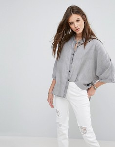 Рубашка с рукавами 3/4 Noisy May Alex - Серый