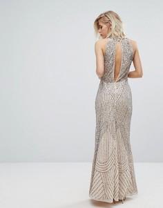Платье-премиум макси с американской проймой и отделкой Miss Selfridge - Синий