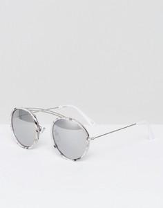 Круглые солнцезащитные очки с зеркальными линзами и мраморной отделкой ASOS - Черный