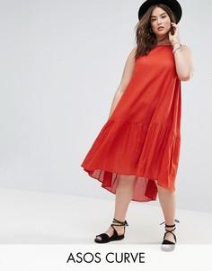 Свободное платье миди из ткани добби ASOS CURVE - Красный