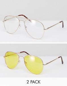 Набор из 2 пар солнцезащитных очков-авиаторов (желтые стекла/ прозрачные стекла) ASOS - Золотой