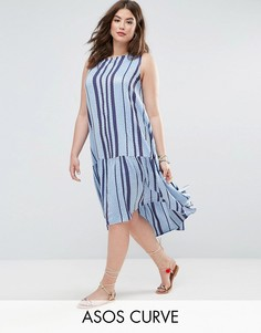 Платье-трапеция миди в полоску ASOS CURVE - Синий