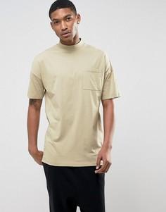 Oversize-футболка с воротником-стойкой и карманом ASOS - Бежевый