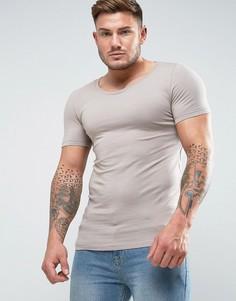 Серая облегающая футболка с овальным вырезом ASOS - Бежевый